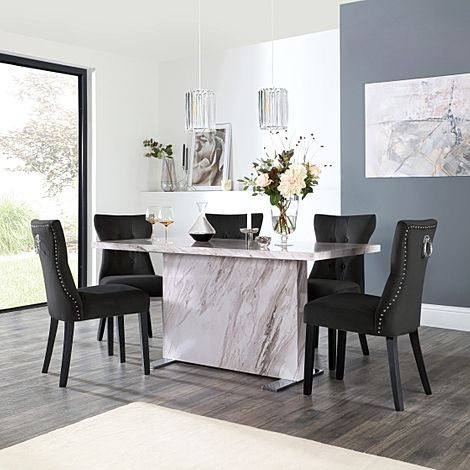 Magnus Grey Marble Dining Table with 6 Kensington Black Velvet Chairs