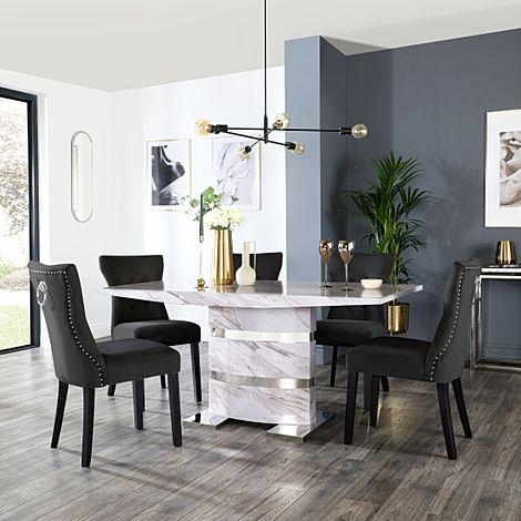 Komoro Grey Marble Dining Table and 6 Kensington Black Velvet Chairs