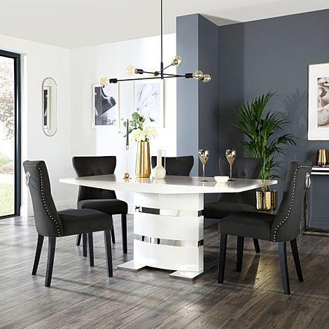 Komoro White High Gloss Dining Table with 6 Kensington Black Velvet Chairs