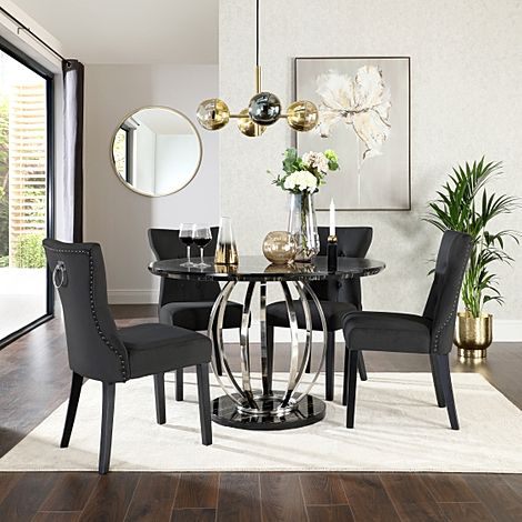 Savoy Round Black Marble and Chrome Dining Table with 4 Kensington Black Velvet Chairs