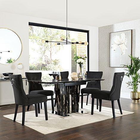 Vienna Black Marble Extending Dining Table with 4 Kensington Black Velvet Chairs