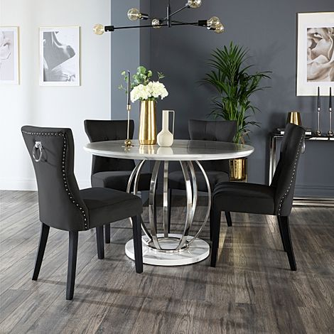 Savoy Round White Marble and Chrome Dining Table with 4 Kensington Black Velvet Chairs