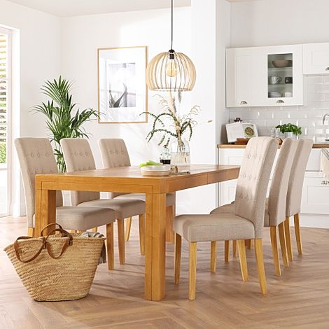 Cambridge 175-220cm Oak Extending Dining Table with 6 Regent Oatmeal Fabric Chairs