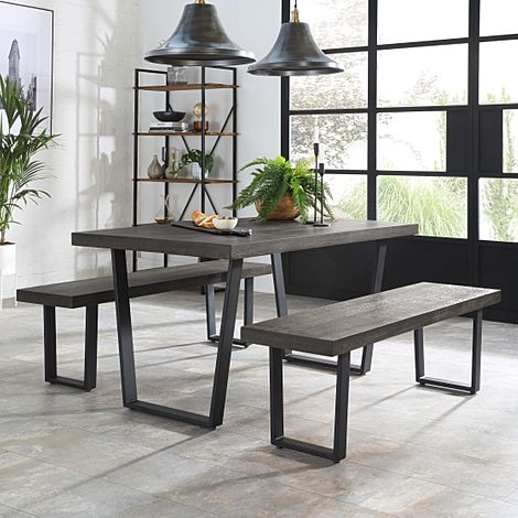 Addison 150cm Grey Wood Dining Table and 2 Benches