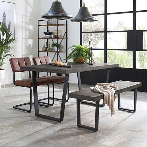 Addison 150cm Grey Wood Dining Table and Bench with 2 Carter Tan Leather Chairs
