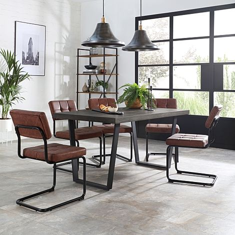 Addison 150cm Grey Wood Dining Table with 4 Carter Tan Leather Chairs