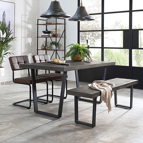 Addison 150cm Grey Wood Dining Table and Bench with 2 Carter Vintage Brown Leather Chairs