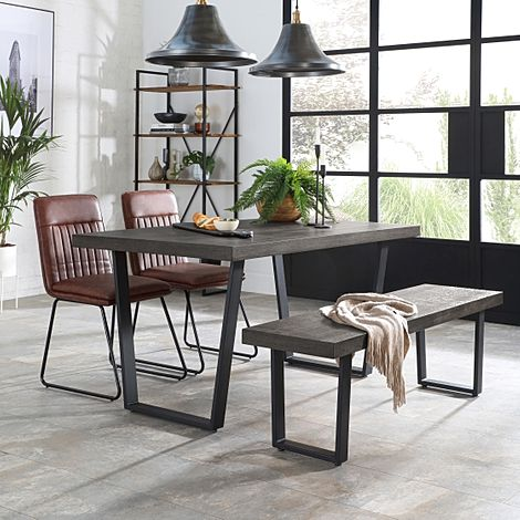 Addison 150cm Grey Wood Dining Table and Bench with 2 Flint Tan Leather Chairs