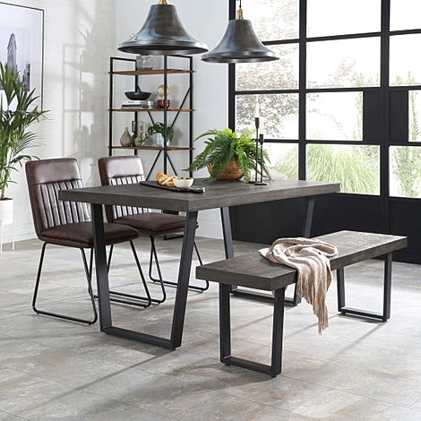 Addison 150cm Grey Wood Dining Table and Bench with 2 Flint Vintage Brown Leather Chairs