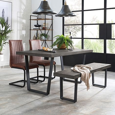 Addison 150cm Grey Wood Dining Table and Bench with 2 Perth Tan Leather Chairs
