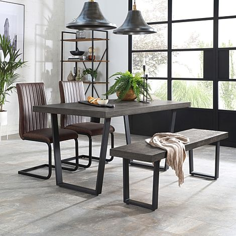 Addison 150cm Grey Wood Dining Table and Bench with 4 Perth Vintage Brown Leather Chairs