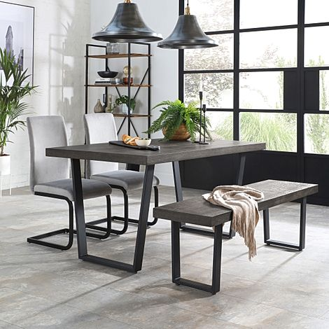 Addison 150cm Grey Wood Dining Table and Bench with 2 Perth Grey Velvet Chairs