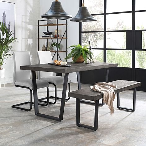 Addison 150cm Grey Wood Dining Table and Bench with 2 Perth Light Grey Leather Chairs