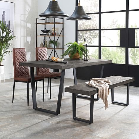 Addison 150cm Grey Wood Dining Table and Bench with 2 Renzo Tan Leather Chairs