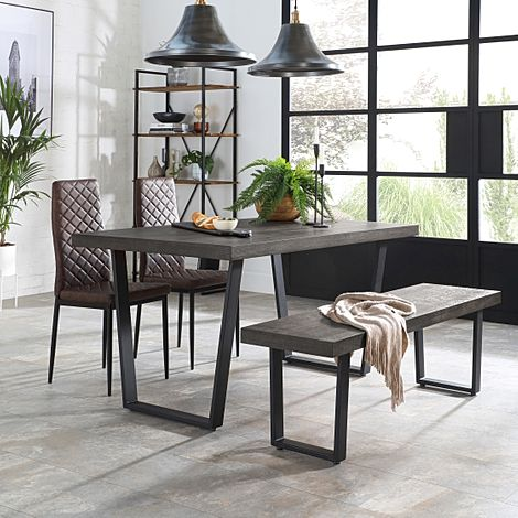Addison 150cm Grey Wood Dining Table and Bench with 2 Renzo Vintage Brown Leather Chairs