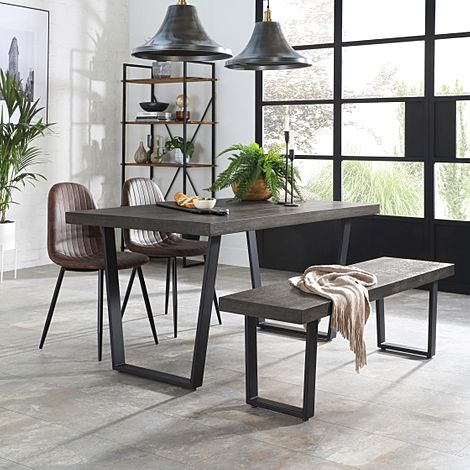 Addison 150cm Grey Wood Dining Table and Bench with 2 Brooklyn Vintage Brown Leather Chairs