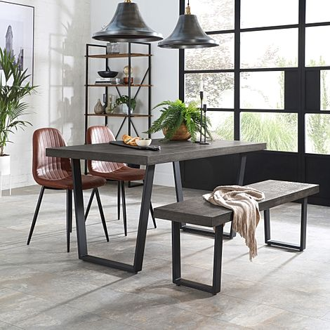 Addison 150cm Grey Wood Dining Table and Bench with 2 Brooklyn Tan Leather Chairs