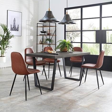 Addison 150cm Grey Wood Dining Table with 4 Brooklyn Tan Leather Chairs