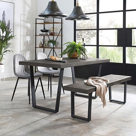 Addison 150cm Grey Wood Dining Table and Bench with 2 Brooklyn Grey Velvet Chairs