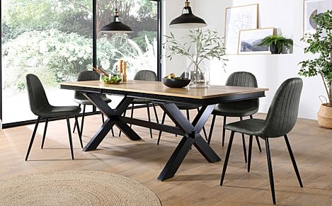 Grange Painted Black and Oak Extending Dining Table with 8 Brooklyn Vintage Grey Leather Chairs