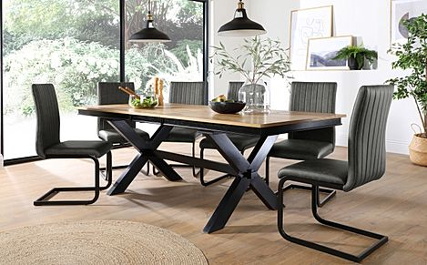 Grange Painted Black and Oak Extending Dining Table with 6 Perth Vintage Grey Leather Chairs