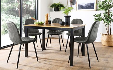 Milton Painted Black and Oak Dining Table with 4 Brooklyn Vintage Grey Leather Chairs