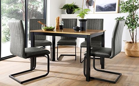 Milton Painted Black and Oak Dining Table with 6 Perth Vintage Grey Leather Chairs