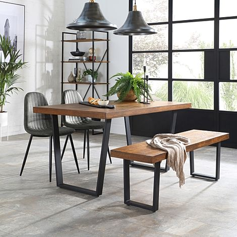 Addison 150cm Industrial Oak Dining Table and Bench with 4 Brooklyn Vintage Grey Leather Chairs