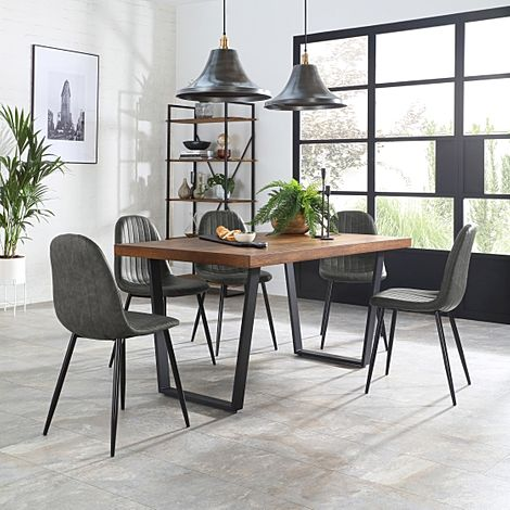 Addison 150cm Industrial Oak Dining Table with 6 Brooklyn Brooklyn Vintage Grey Leather Chairs