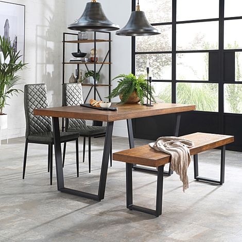 Addison 150cm Industrial Oak Dining Table and Bench with 2 Renzo Vintage Grey Leather Chairs