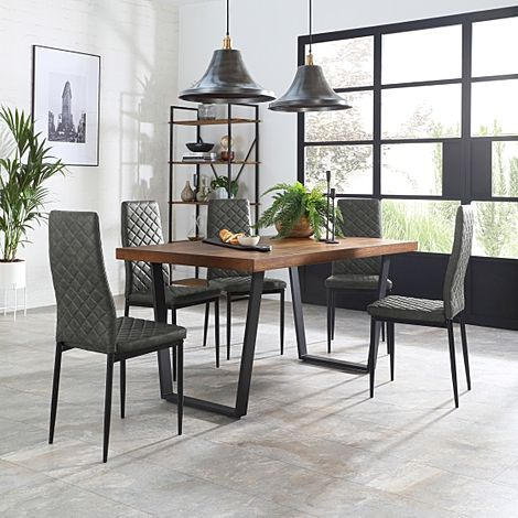 Addison 150cm Industrial Oak Dining Table with 4 Renzo Vintage Grey Leather Chairs
