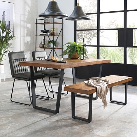 Addison 150cm Industrial Oak Dining Table and Bench with 4 Flint Vintage Grey Leather Chairs