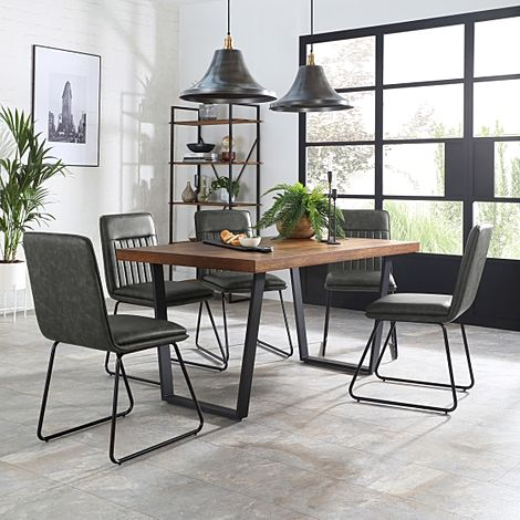 Addison 150cm Industrial Oak Dining Table with 4 Flint Vintage Grey Leather Chairs