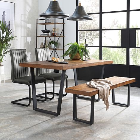 Addison 150cm Industrial Oak Dining Table and Bench with 4 Perth Vintage Grey Leather Chairs