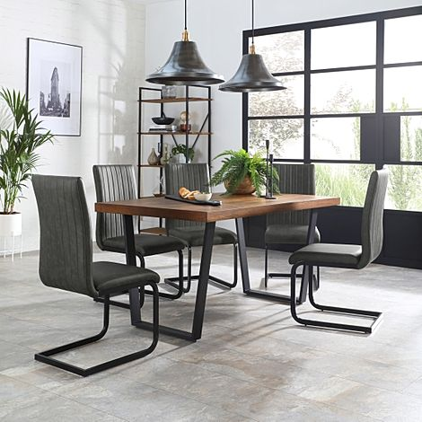 Addison 150cm Industrial Oak Dining Table with 6 Perth Vintage Grey Leather Chairs