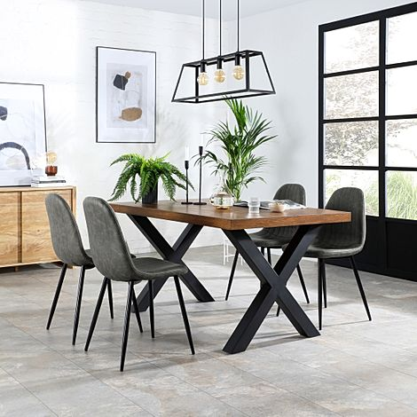 Franklin Industrial Oak Dining Table with 4 Brooklyn Grey Vintage Leather Chairs