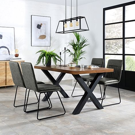 Franklin Industrial Oak Dining Table with 4 Flint Vintage Grey Leather Chairs