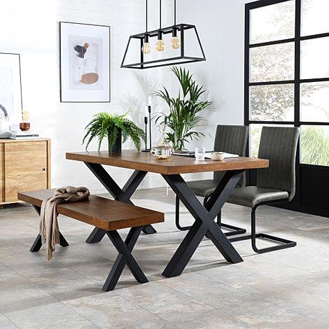 Franklin Industrial Oak Dining Table and Bench with 2 Perth Vintage Grey Leather Chairs