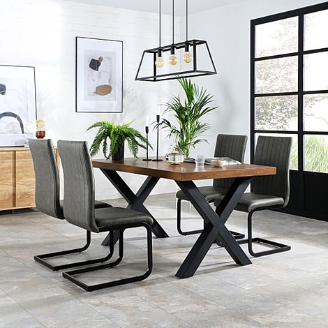 Franklin Industrial Oak Dining Table with 4 Perth Vintage Grey Leather Chairs