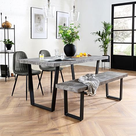 Addison 150cm Concrete Dining Table and Bench with 2 Brooklyn Vintage Grey Leather Chairs