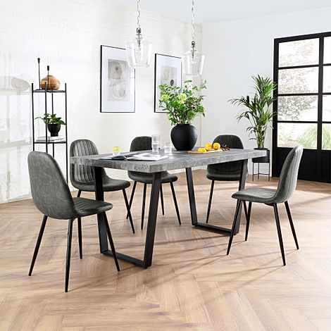 Addison 150cm Concrete Dining Table with 4 Brooklyn Vintage Grey Leather Chairs