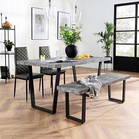 Addison 150cm Concrete Dining Table and Bench with 2 Renzo Vintage Grey Leather Chairs