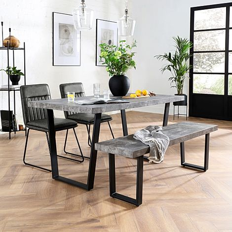Addison 150cm Concrete Dining Table and Bench with 2 Flint Vintage Grey Leather Chairs