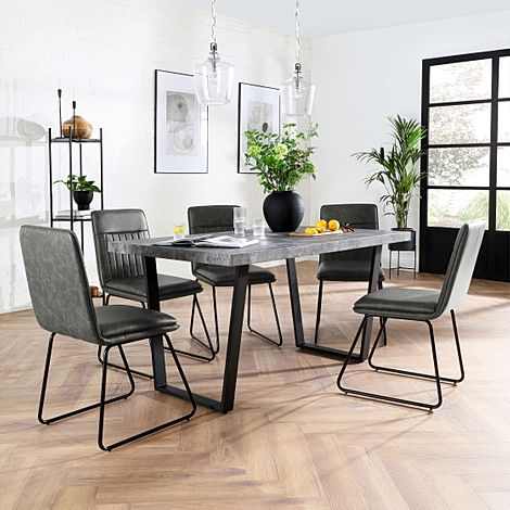 Addison 150cm Concrete Dining Table with 6 Flint Vintage Grey Leather Chairs