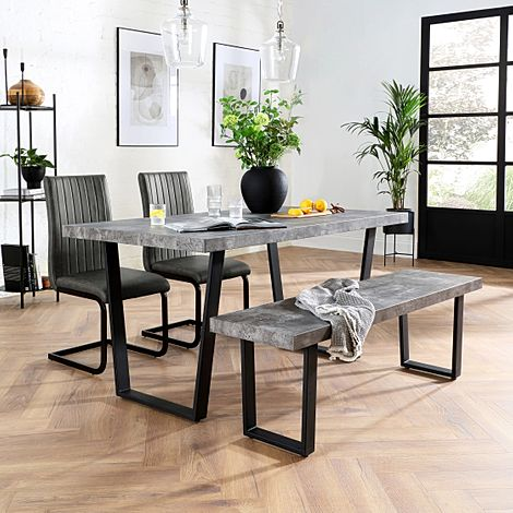 Addison 150cm Concrete Dining Table and Bench with 4 Perth Vintage Grey Leather Chairs