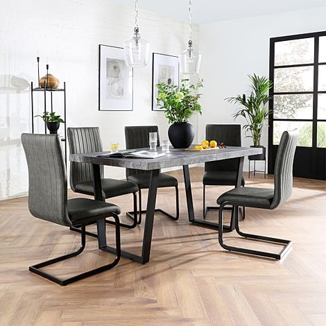 Addison 150cm Concrete Dining Table with 6 Perth Vintage Grey Leather Chairs