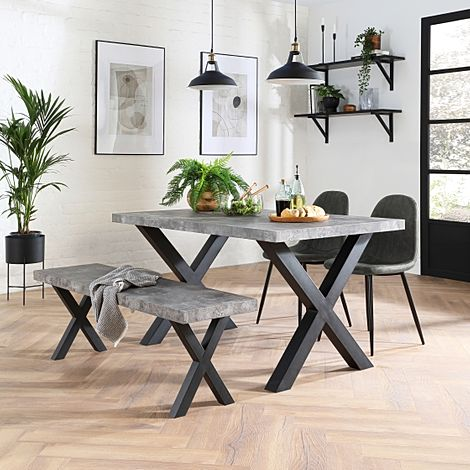 Franklin Concrete Dining Table and Bench with 2 Brooklyn Vintage Grey Leather Chairs