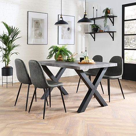 Franklin Concrete Dining Table with 4 Brooklyn Vintage Grey Leather Chairs