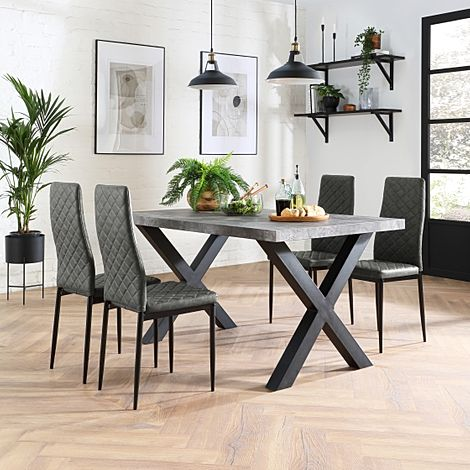 Franklin Concrete Dining Table with 4 Renzo Vintage Grey Leather Chairs