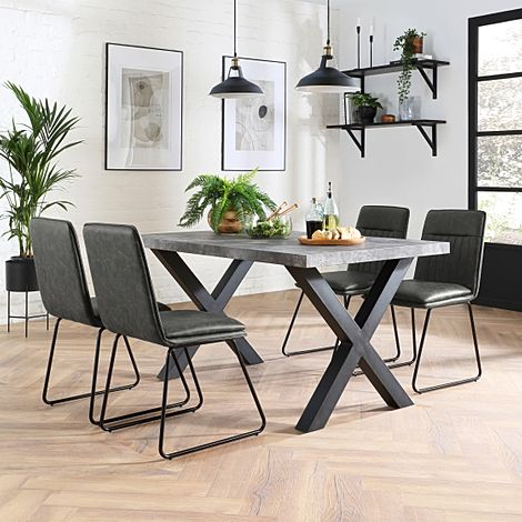 Franklin Concrete Dining Table with 4 Flint Vintage Grey Leather Chairs